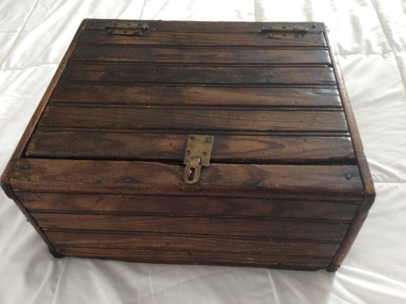 Antique Superb 1900 Handmade Large Wooden Box Brass Hinge Lid Solid