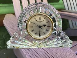 Waterford Crystal Wharton 6.5 Hand Finished Wedge Cuts Desk Clock
