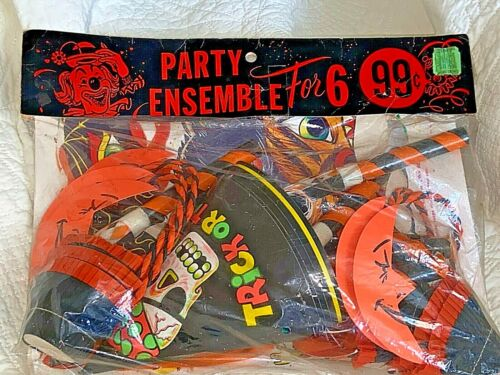 Vintage HALLOWEEN Party SUPPLIES for 6 ~ Candy Cups Blowers Hats Masks Balloons