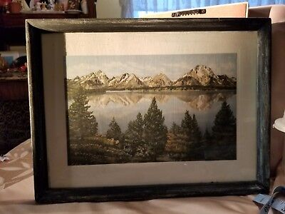 (Antique / VTG Framed Print w/ Lake Mountain & Trees on Heavy Embossed Paper   R)