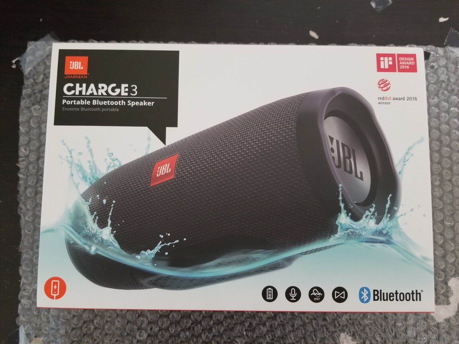 Brand New Sealed JBL Charge 3 Waterproof Portable Bluetooth Speaker - Black