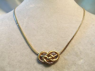 FUNKY COOL Vintage Goldtone Chain & PREZEL KNOT Centerpiece Necklace 15N174](Cool Centerpieces)