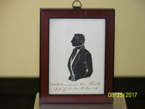 Antique c1849 SIlhouette Portrait Young Gentleman Signed & Dated Framed