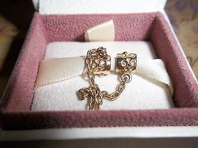 Genuine Authentic Pandora 14ct Gold Safety Chain Charm 750312 5cm 585 ALE