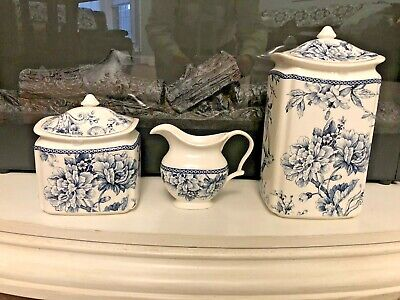 NEW! 222 Fifth Adelaide Blue Bird Floral 2 Canisters & Creamer SET French Toile