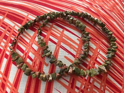 """HDMD by Cyndi Ankle Bracelet of Green Peach Unakite Natural Stone Chips - 10.5"""""""