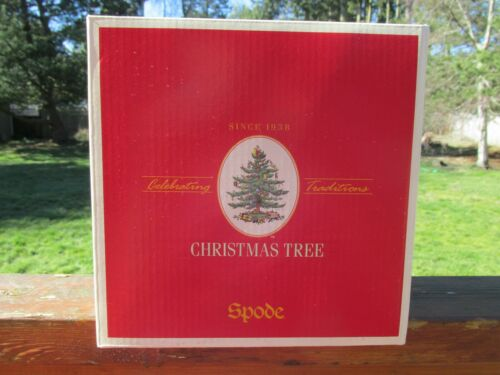 SPODE CHRISTMAS TREE SET OF (4)  PEDESTAL GOBLETS NIB