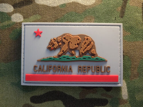 "California CA Semisubdued Gray 2x3"" PVC Tactical Hook Patch"