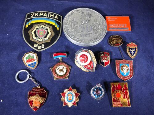 E2-11 RUSSIAN FIRE DEPARTMENT MEDALS / BADGES / PINS & PATCH LOT -SOVIET UNION