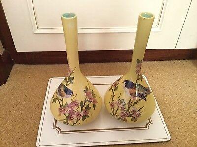 Bretby Antique Cloisonné Pair Of Yellow Vases With Bird Design