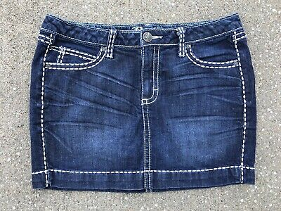 Wrangler Rock 47 Denim Mini Skirt Western Ultra Low Rise 7 - Low Rise Mini Skirt