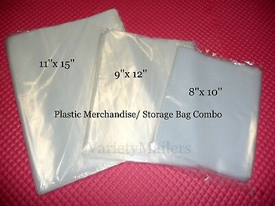 60 Clear Plastic Merchandise Storage Bag Variety Pack 8x10 9x12 11x15
