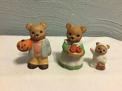 Homco Halloween Bears #5311 Ghost Pumpkin Clown Trick or Treat Set of Three  - Three Bears Halloween