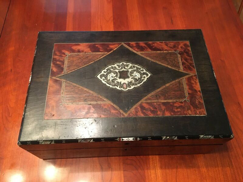 Antique Burled Inlaid Letter/ Writing Box
