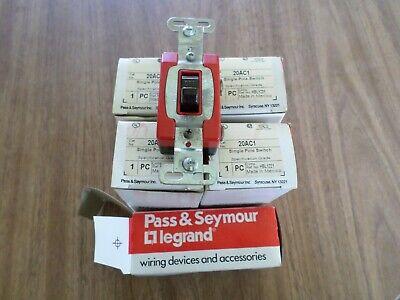 5 Pass Seymour Legrand 20ac1 Single Pole Switch Spec Grade 20a 120-277v Brown