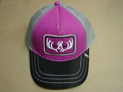 NEW BROWNING WOMENS AMBER CAP CHARCOAL PINK ADJUSTABLE HAT BUCKMARK LOGO