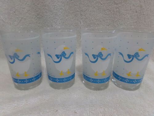 4 Libbey Frosted Country Goose 7 Ounce Drinking Juice Glasses Excellent