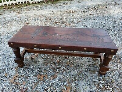Unknown Antique Leather Top Coffee Table Vatican