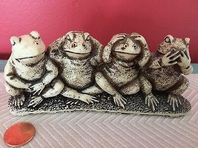 Frog Figurine Hear See Speak No Evil Bonus Fourth Frog! No Evil Frogs