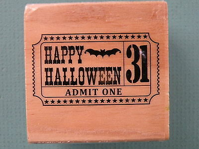 HAPPY HALLOWEEN Carnival Ticket CRAFTSMART Rubber Stamp