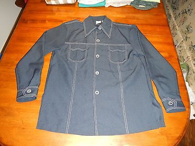 vintage sears kings road polyester button front shirt mens medium hippy