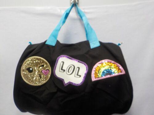 GIRLS CAPELLI KIDS BLACK EMOJI LOL RAINBOW SMILE HEART DUFFEL BAG NEW #7375