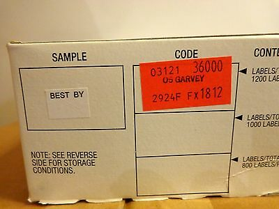 Garvey Price Labels 1812 36000 Best By White 1 Box For 18-6 Guns