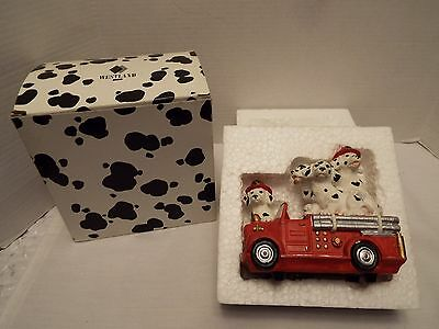 "Rare Westland Dalmation Dog Firefighters Music Box "" On The Road Again "" # 357 N"