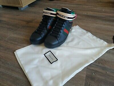 Men's Ace Gucci stripe high-top sneaker size 9.5 (100% authentic)
