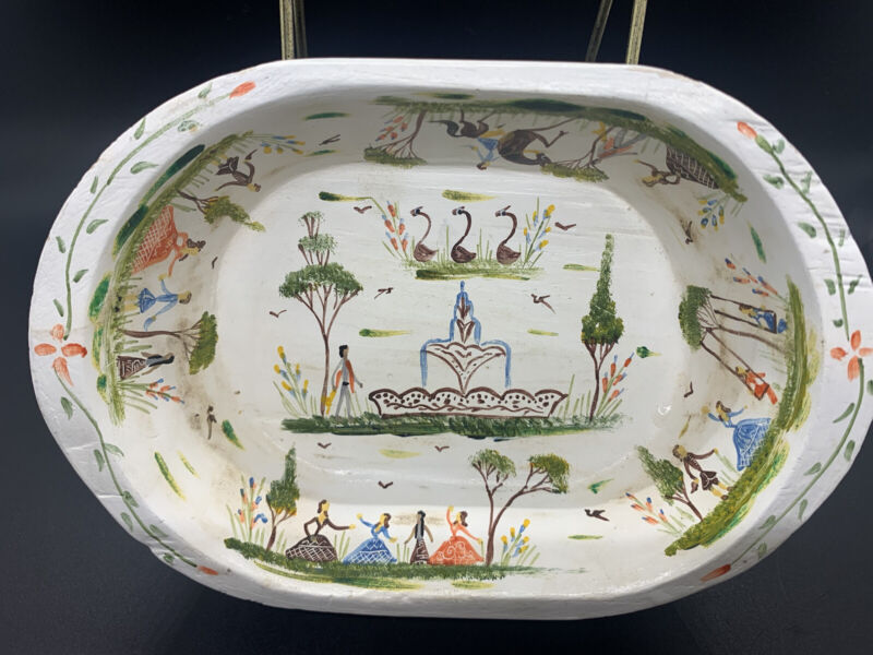 Vintage Benito Fosado Signed Hand-Painted Batea Bowl Mexico