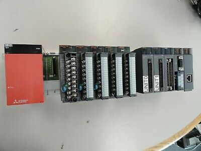 Mitsubishi Q312b Plc Base Unit Melsec Loaded Wmodules - See Description