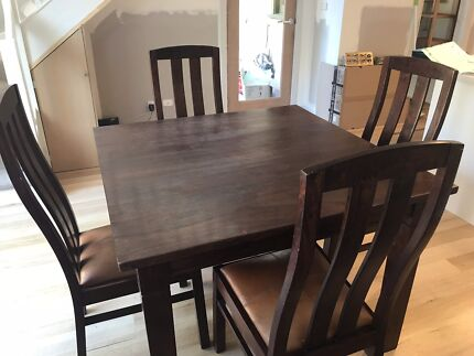 Square Hard wood table with 4 x chairs