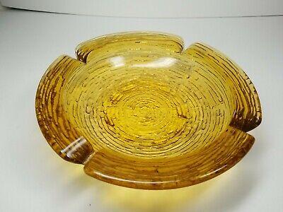 "Vintage Large 9"" Amber Glass 3 LB Ashtray Ash Tray Retro Design Mint Condition"