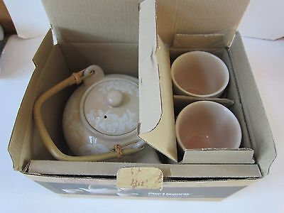 New Porcelain Ivory Rose Tea Set Teapot 4 Cups Asian Chinese Japanese Wicker