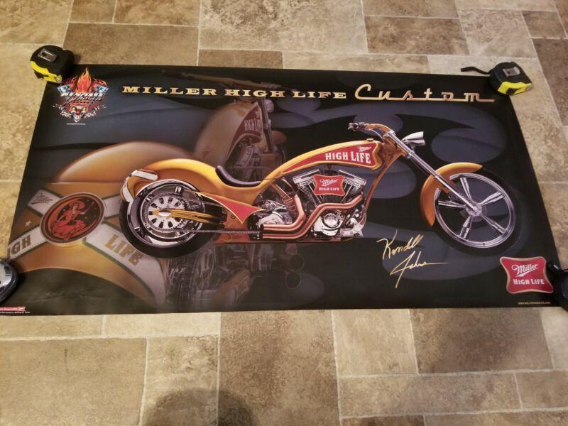 (VTG) miller High life beer Kendall Johnson motorcycle bike garage bar poster