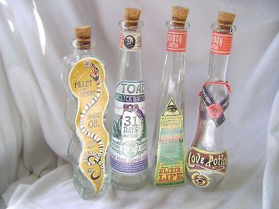 Neu 4 Spaß Apotheker Zaubertrank Flaschen Schlangen Öl Love Potion Leben Kröte ()
