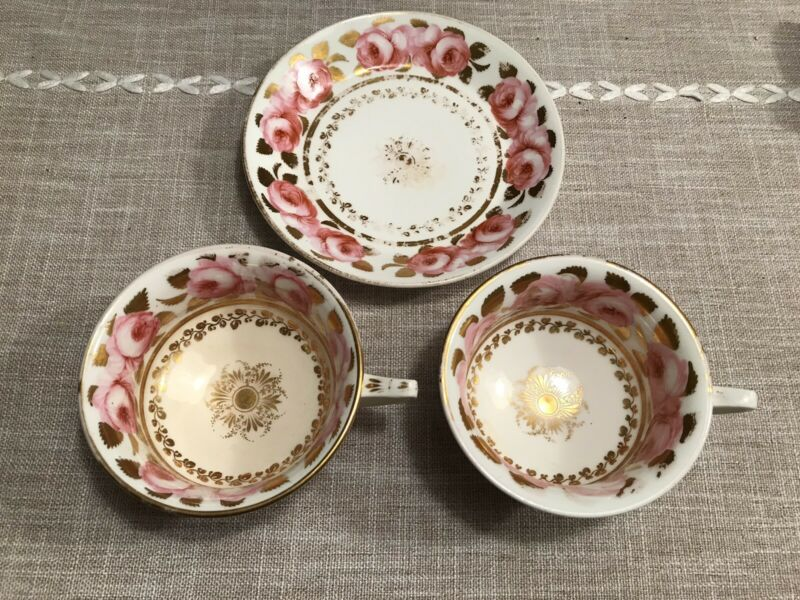 ANTIQUE 1800s SPODE COPELANDS CABBAGE ROSES GOLD (2) TEA CUPs & (1) SAUCER