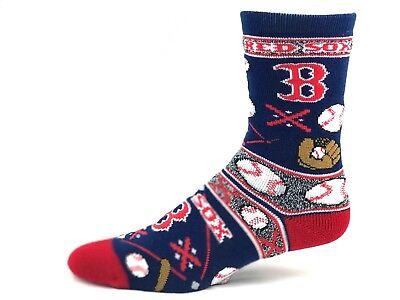 Crew Toe Sox Socks (Boston Red Sox Baseball Ugly Christmas Baseball Crew Socks Red Heel Toe )