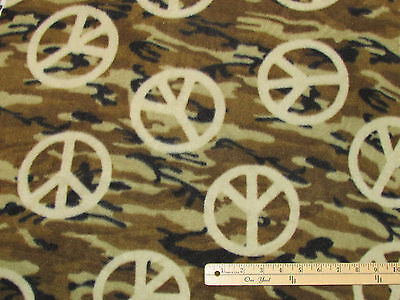 Peace Sign Camouflage Camo Fleece Fabric  by the Yard -