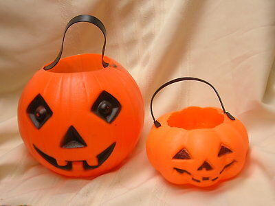 2 Plastic Pumpkins Small & Large with Handles Jack-O-Lantern Faces