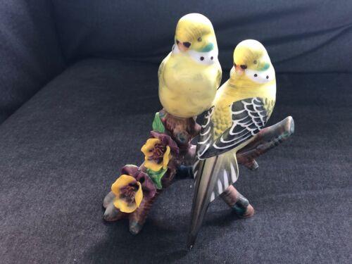 Vintage PARRAKEETS Birds Figurine on Branch Flowers YELLOW PARAKEET