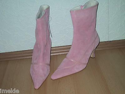 Leder Ankle Boot Spitze (Spitze Stiefelette / Ankle Boot NEU in Gr. 42 rosa Veloursleder mit Warmfutter)