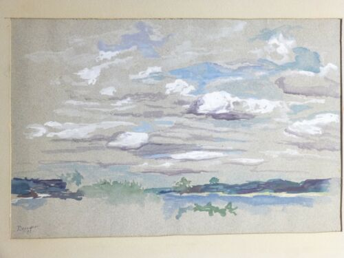 VINTAGE AMERICAN MODERNIST GOUACHE PAINTING Mid Century Modern 1931 - Signed