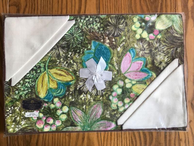 Unused Vintage Progress Creations Placemats & Napkins Set - Bold Floral