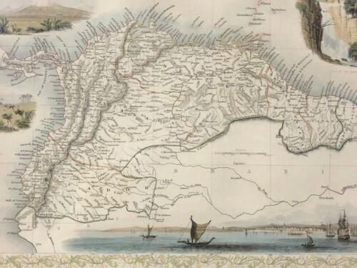 Rapkin, 1851 Map VENEZUELA GUYANA ECUADOR SOUTH AMERICA Framed Under Glass