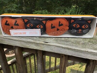 Black Cat & Orange Pumpkin Halloween Garland 6 Ft Candy Corn Lane Plush Stiched