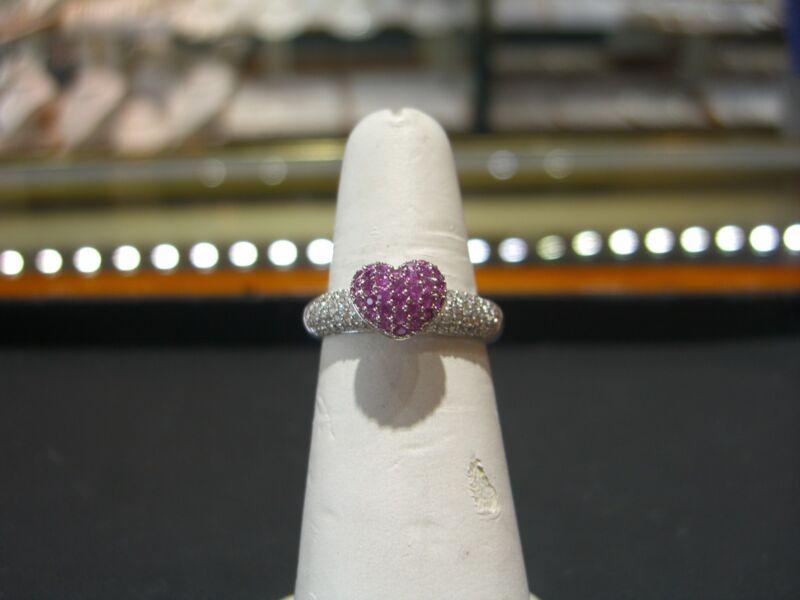 Fine 18 Karat White Gold Diamond Heart Pink Sapphire Ring Hand Made Size 7.0