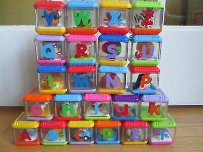 Fisher Price Peek-A-Boo Interactive Alphabet Blocks ABC Sensory Toy Lot of 23