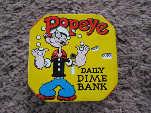 1956 PopeyeTin Litho Bank King Features Syndicate Tested Works Bright Color!