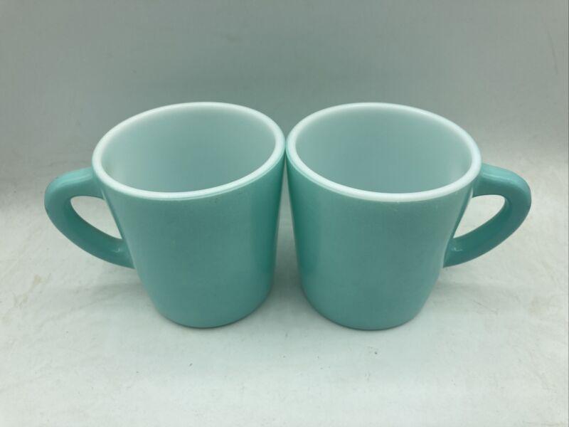 Lot of 2 Vintage Hazel Atlas Coffee Mugs Milk Glass Turquoise Blue Aqua